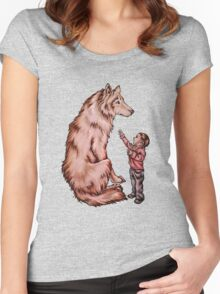 Cartoon Child with Wolf Drawing  Women's Fitted Scoop T-Shirt