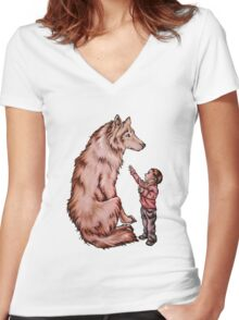 Cartoon Child with Wolf Drawing  Women's Fitted V-Neck T-Shirt