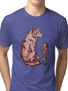 Cartoon Child with Wolf Drawing  Tri-blend T-Shirt