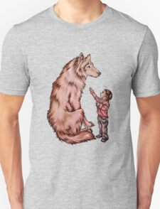 Cartoon Child with Wolf Drawing  Unisex T-Shirt
