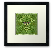 Green Paradise with Exotic Butterfly  Framed Print