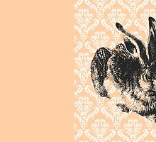 Vintage Bunny on Pink Damask by anabellstar