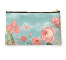 Coral Flowers and Turquoise Sky Studio Pouch