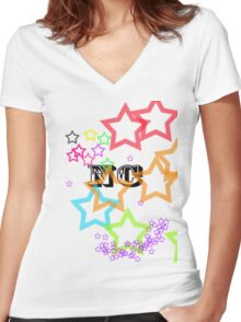 Rainbow Stars Women's Fitted V-Neck T-Shirt