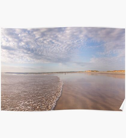 The tide washes in at Westward Ho! beach in North Devon, UK Poster