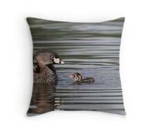 Then There Were Three / Pied-billed Grebes Throw Pillow