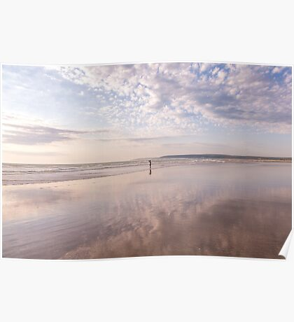 Reflections at Westward Ho! beach in North Devon, UK Poster