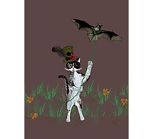 Steampunk Kitty Flying A Bat Photographic Print