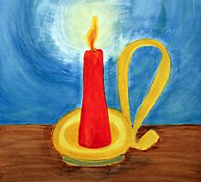 Red candle lighting up the dark blue night. by Serenethos