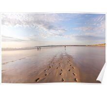 Footprints in the sand at Westward Ho! beach in North Devon, UK Poster