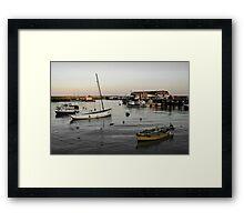 Bridlington harbour dusk - mono blend Framed Print
