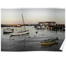 Bridlington harbour dusk - mono blend Poster