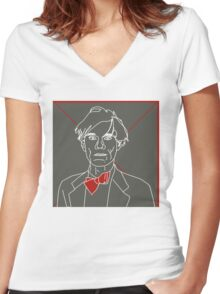 Andy Warhol red bow tie Women's Fitted V-Neck T-Shirt