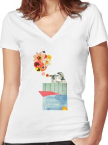 in bloom Women's Fitted V-Neck T-Shirt