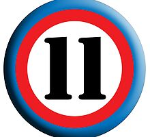 Eleven, Eleventh,ROUNDEL, TEAM SPORTS NUMBER 11, 11, Competition, WHITE on BLACK by TOM HILL - Designer