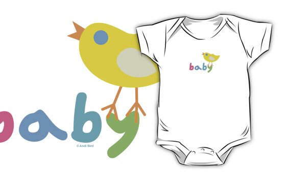 Baby and chick t shirt onsie  by Andi Bird