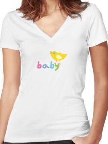Baby and chick t shirt onsie  Women's Fitted V-Neck T-Shirt