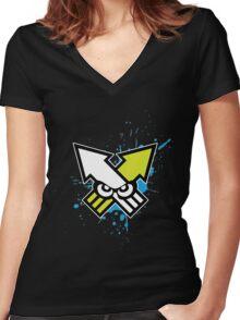 Splatoon - Turf War (Blue Splat) Women's Fitted V-Neck T-Shirt