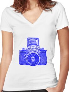 Giant East German Camera - Blue Women's Fitted V-Neck T-Shirt