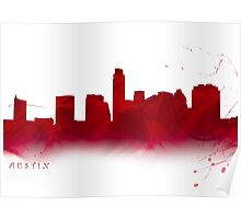 Watercolor Austin Skyline in Red Poster