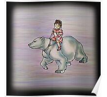 Cartoon Girl Child Riding Polar Bear Drawing  Poster