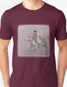 Cartoon Girl Child Riding Polar Bear Drawing  Unisex T-Shirt