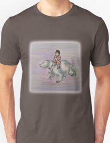 Cartoon Girl Child Riding Polar Bear Drawing  T-Shirt