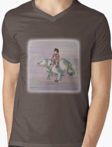 Cartoon Girl Child Riding Polar Bear Drawing  Mens V-Neck T-Shirt