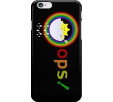 funny illustration on a sun bathe in the clouds and a rainbow appeared also iPhone Case/Skin