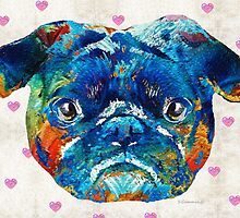Pug Love Dog Art by Sharon Cummings by Sharon Cummings