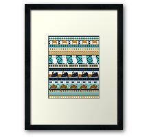 Blue Ethno Cats Framed Print