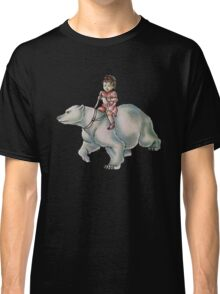 Cartoon Girl Child Riding Polar Bear Drawing  Classic T-Shirt