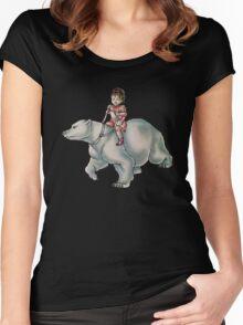 Cartoon Girl Child Riding Polar Bear Drawing  Women's Fitted Scoop T-Shirt