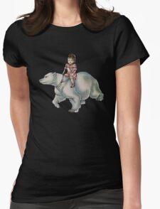 Cartoon Girl Child Riding Polar Bear Drawing  Womens Fitted T-Shirt