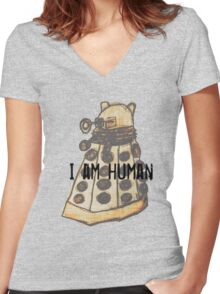 I Am Human Women's Fitted V-Neck T-Shirt