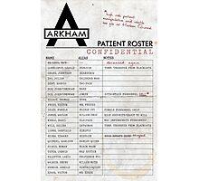Arkham Asylum Roster Photographic Print