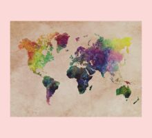 Watercolor world Map art Kids Clothes