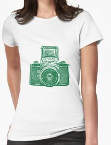 Giant East German Camera - Forest Green Womens Fitted T-Shirt