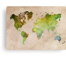 Green World Map ecology Canvas Print