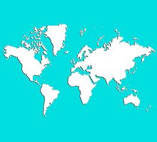 World Splatter Map - wturquoise by Mark McKinney