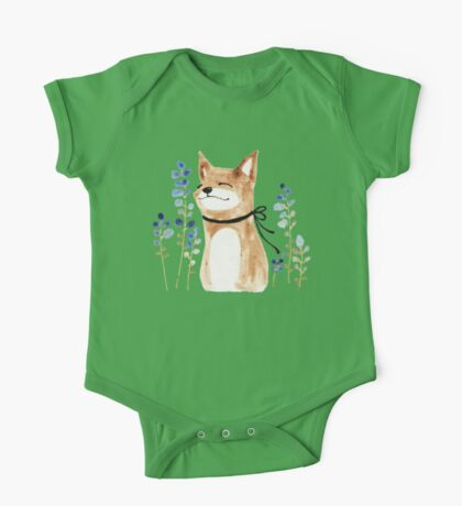 Fox and Flower One Piece - Short Sleeve