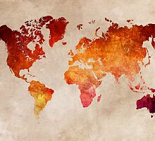 Map of the world Red World by JBJart