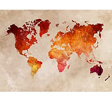 Map of the world Red World Photographic Print