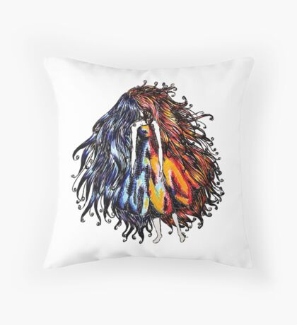 Hot & Cold Faceless girl Throw Pillow