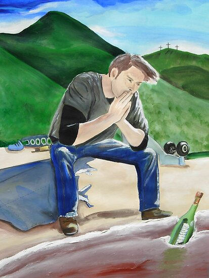 "LOST Sawyer's Prayer Acrylic Painting of James 'Sawyer"" Ford by Rick Short"