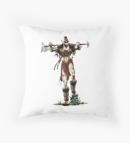 Elven Axe Warrior (Female) Throw Pillow
