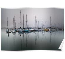 Bellerive yacht club marina in early morning fog Poster
