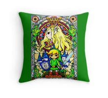 Zelda Wind Waker Stained Glass  Throw Pillow