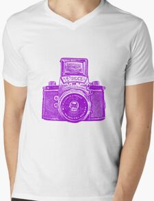 Giant East German Camera - Purple Mens V-Neck T-Shirt
