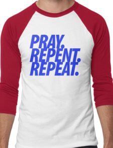 PRAY REPENT REPEAT BLUE Men's Baseball ¾ T-Shirt